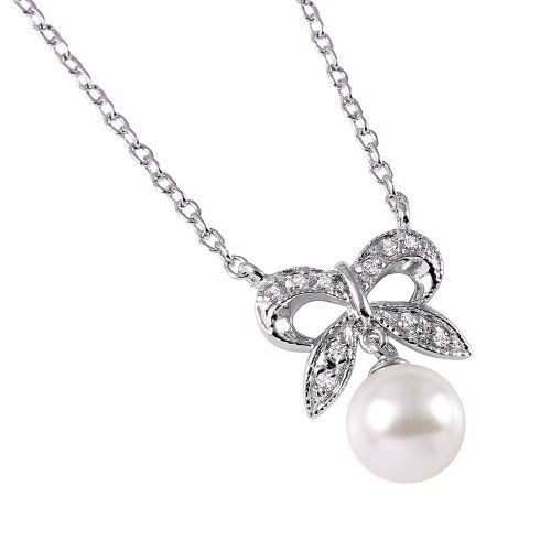 925 Sterling Silver Rhodium Plated CZ Encrusted Bow with Hanging Synthetic Pearl Necklace