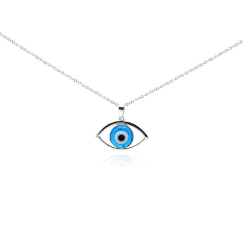 925 Sterling Silver Rhodium Open Evil Eye Center CZ Necklace