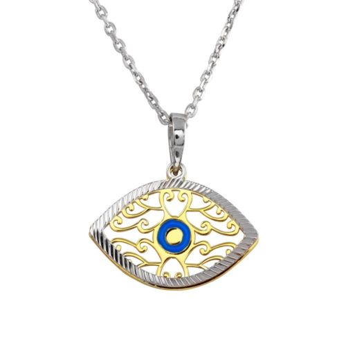 925 Sterling Silver 2 Toned Blue Enamel Center Double Eye Necklace