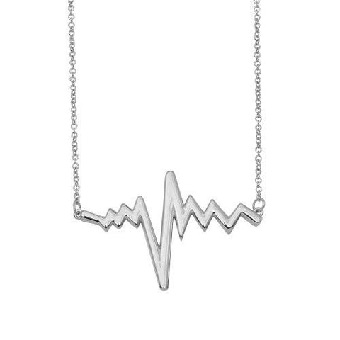 925 Sterling Silver Rhodium Plated Pulse Heart Beat Necklace