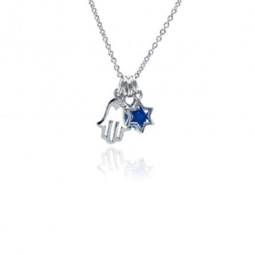925 Sterling Silver Rhodium Plated Clear CZ Hamsa & Star Pendant Necklace