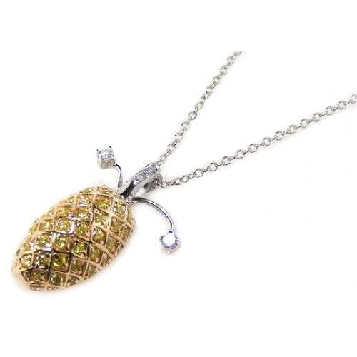 925 Sterling Silver Gold Pineapple Pendant Necklace