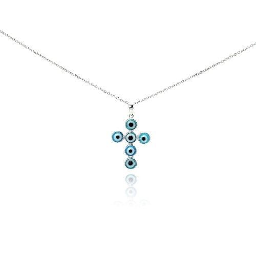 NEW. 925 Sterling Silver Rhodium Plated Blue Evil Eye Cross Necklace