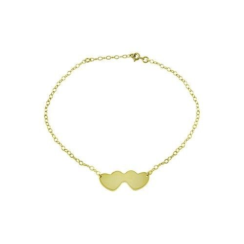 925 Sterling Silver Gold Plated Double Heart Anklets (more colors)