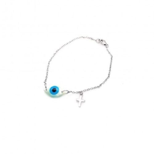 925 Sterling Silver Rhodium Plated Evil Eye & Cross Charm Bracelet