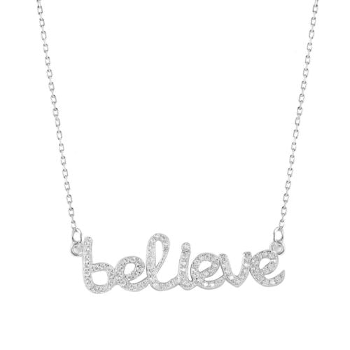 925 Sterling Silver Rhodium Plated Believe Necklace with CZ