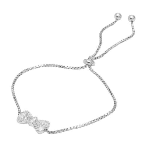 925 Sterling Silver Rhodium Plated Bow Tie Lariat Bracelet with CZ