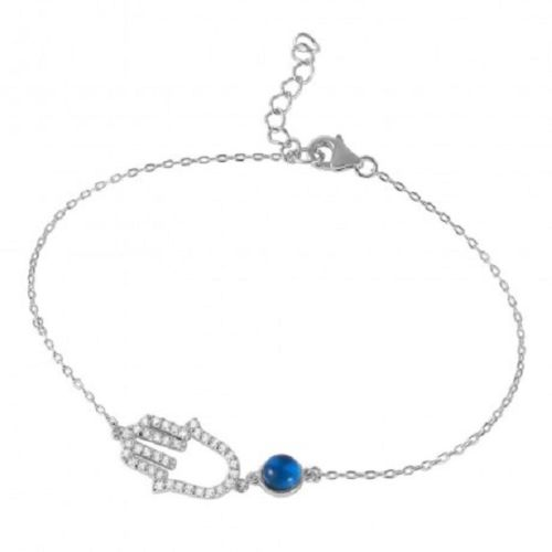 925 Sterling Silver Rhodium Plated Evil Eye Hamsa Bracelet With CZ Accents