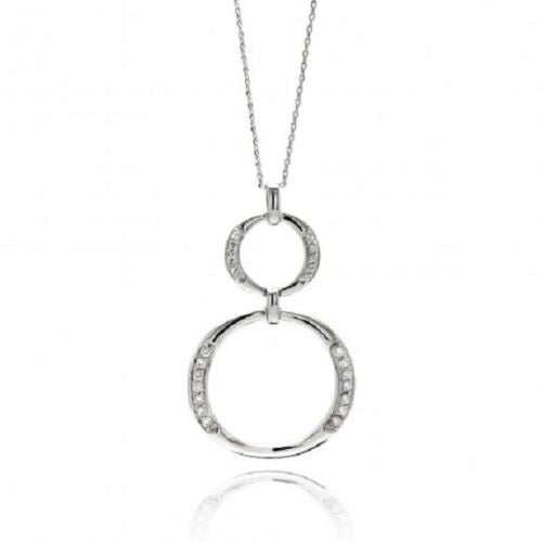 925 Sterling Silver Rhodium Plated Brass Double Open Circle Pendant Necklace