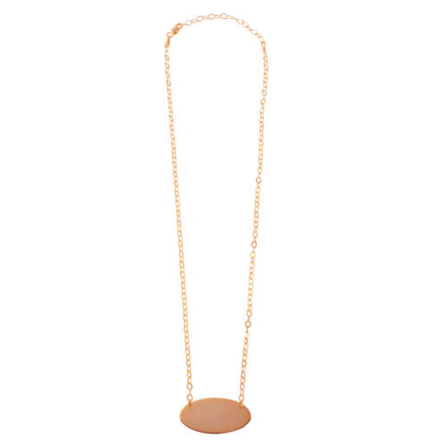 925 Sterling Silver Rose Gold Plated Large Oval Disc Necklace