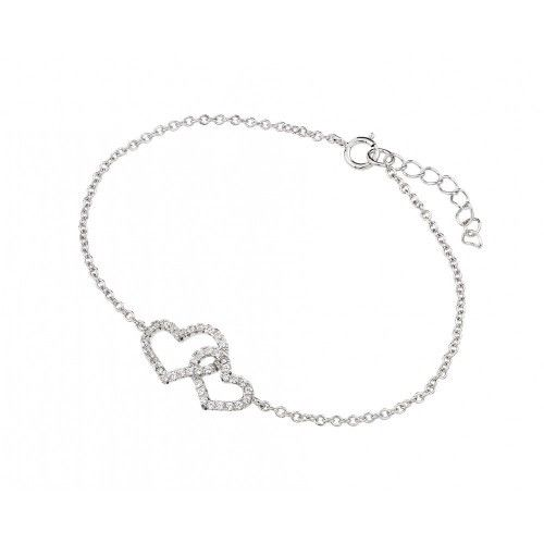 925 Sterling Silver Rhodium Plated Double Heart Bracelet