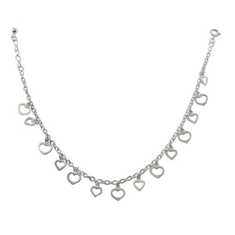 925 Sterling Silver Multi Dangling Open Hearts Anklet