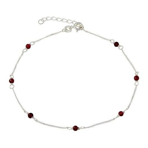 925 Sterling Silver Red Beaded Anklet
