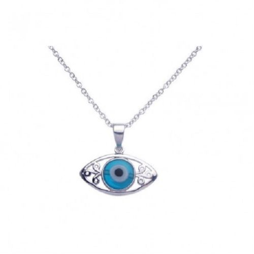 925 Sterling Silver Rhodium Open Evil Eye Filigree CZ Necklace