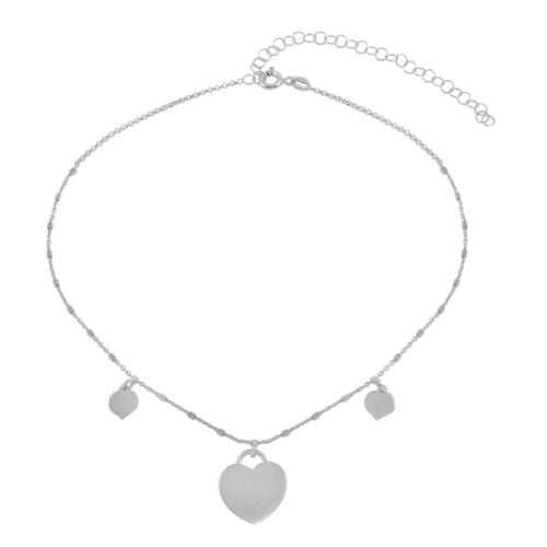 925 Sterling Silver Rhodium Plated Triple Heart Choker Necklace