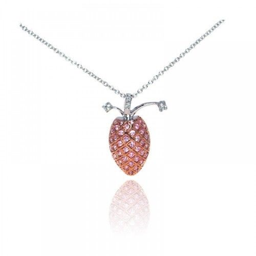 925 Sterling Silver With Rhodium Plated Pink Pineapple Necklace