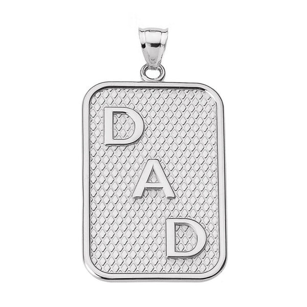"925 Sterling Silver ""DAD"" Engrave Rectangle Pendant Necklace Father's Day"