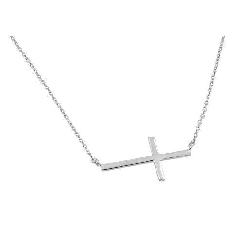 "925 Sterling Silver Rhodium Plated Sideways Cross Adjustable Necklace 16""-18"""