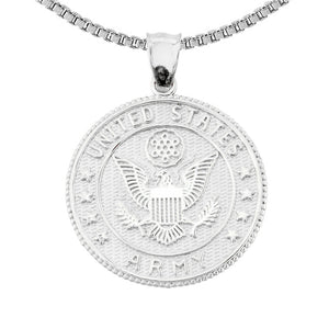 925 Fine Sterling Silver Two Sided US Army Coin Pendant Necklace Made in USA