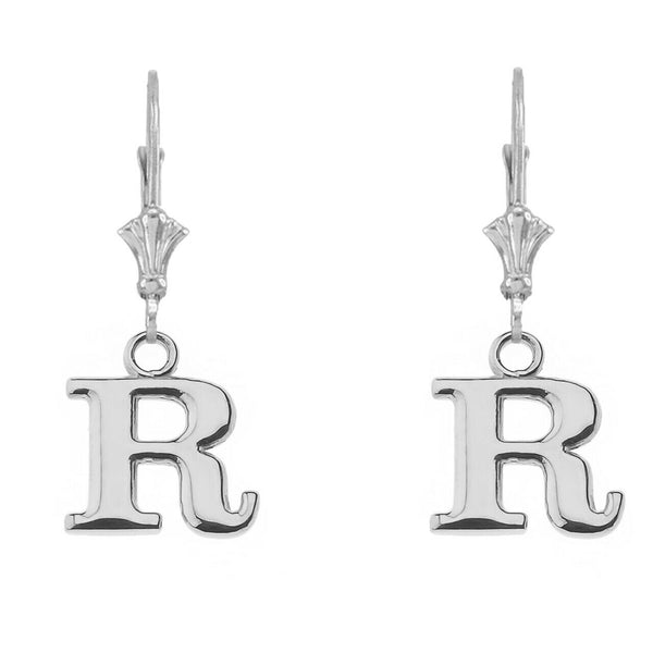 Sterling Silver Initial Earrings B,D,P,G,W,E,V,J,N,M,S,T Made in USA Any Letter