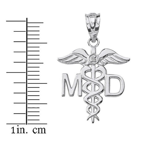 925 Sterling Silver Medical Doctor MD Caduceus Charm Pendant Necklace