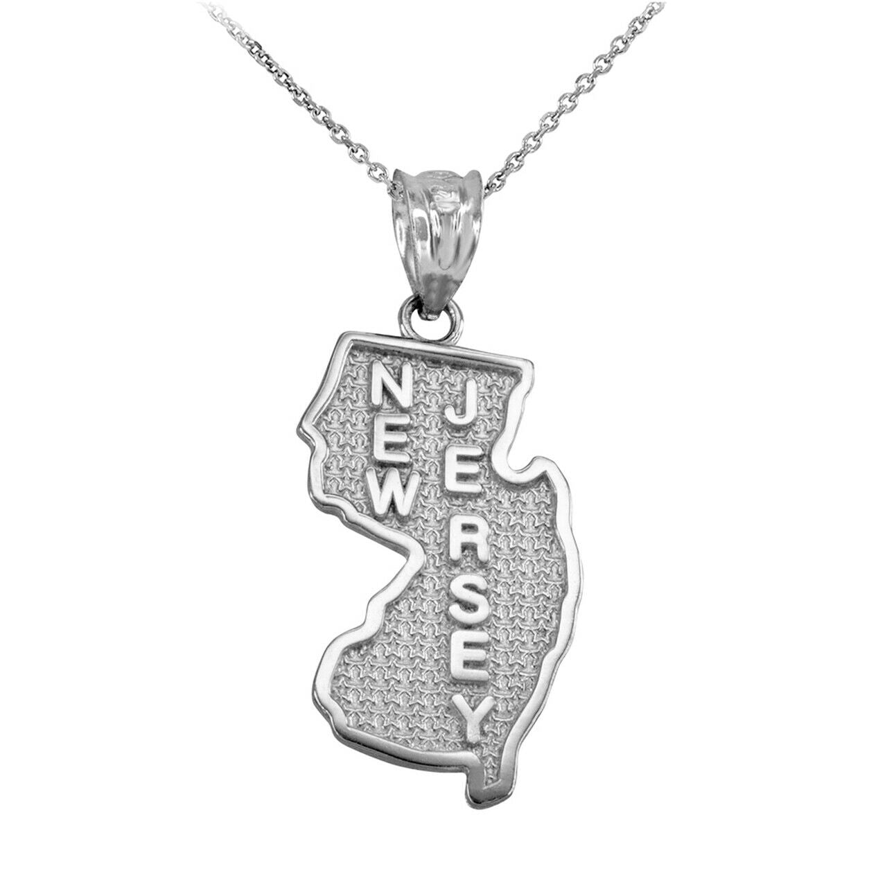 Sterling Silver New Jersey State Map United States Pendant Necklace Made in USA