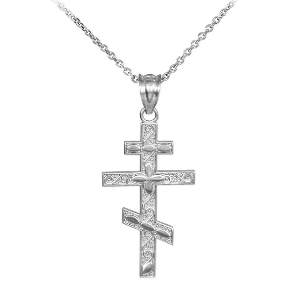 "925 Sterling Silver Russian Orthodox Cross Pendant Necklace Made in USA 16""-22"""