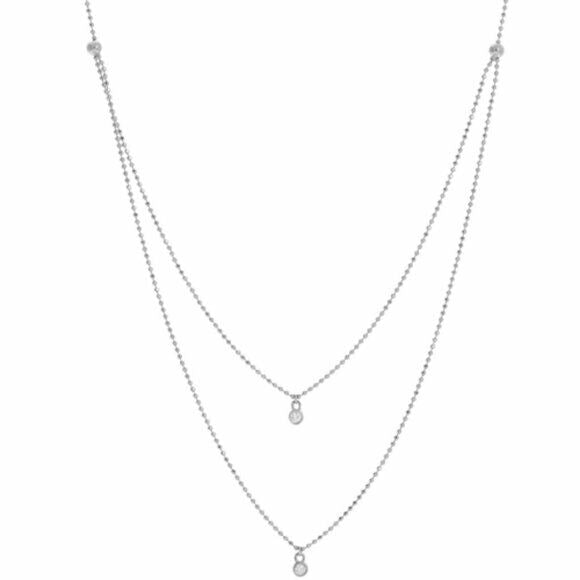 "14K Solid Gold Diamond Layer Double Strand Necklace 16""-18"" Adjustable - White"