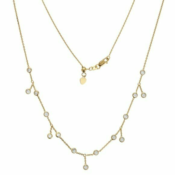 "14K Solid Yellow Gold 3 mm Round CZ Dangle Drop Choker Necklace 17"" Adjustable"