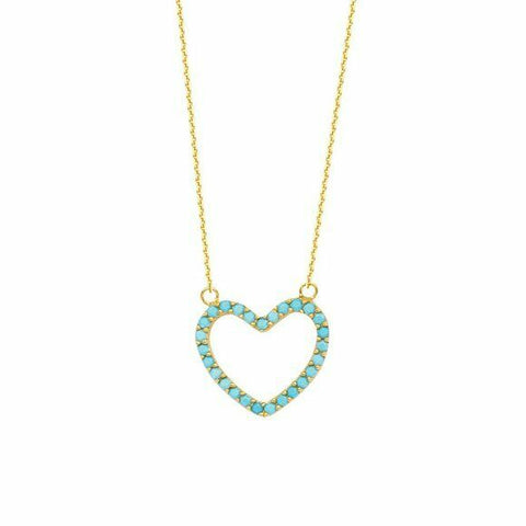 "14K Solid Yellow Gold Open Heart Nano Turquoise Adjustable Necklace 16""-18"""