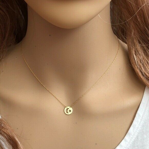 14K Solid Gold Mini Disk Disc Moon Star Dainty Necklace -Minimalist Yellow
