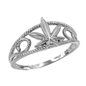 Women's Sterling Silver Textured Filigree Weed Marijuana Cannabis Leaf Rope Ring