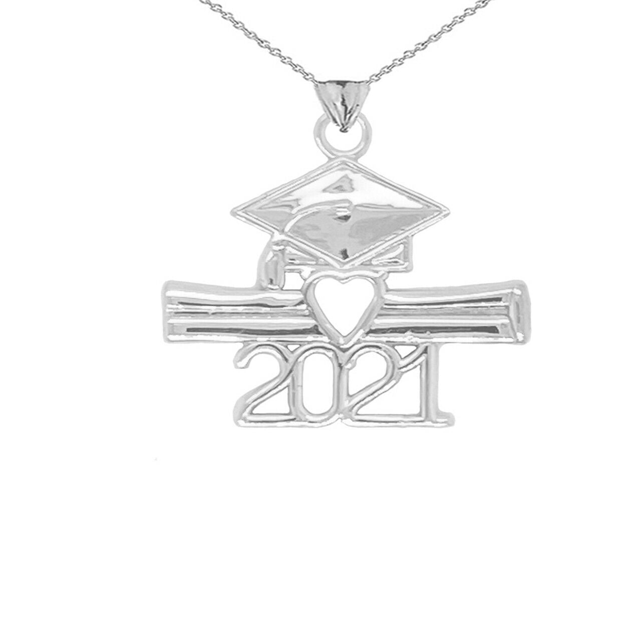 925 Sterling Silver Class of 2021 Graduation Diploma Cap Heart Pendant Necklace