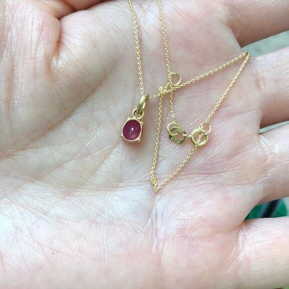 "14K Solid Gold Mini Ruby Charm Pendant Dainty Necklace 16""-18"" adjust-Minimalist"