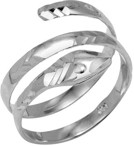 925 Sterling Silver Coiled Snake Ring Any / All Size Made in USA