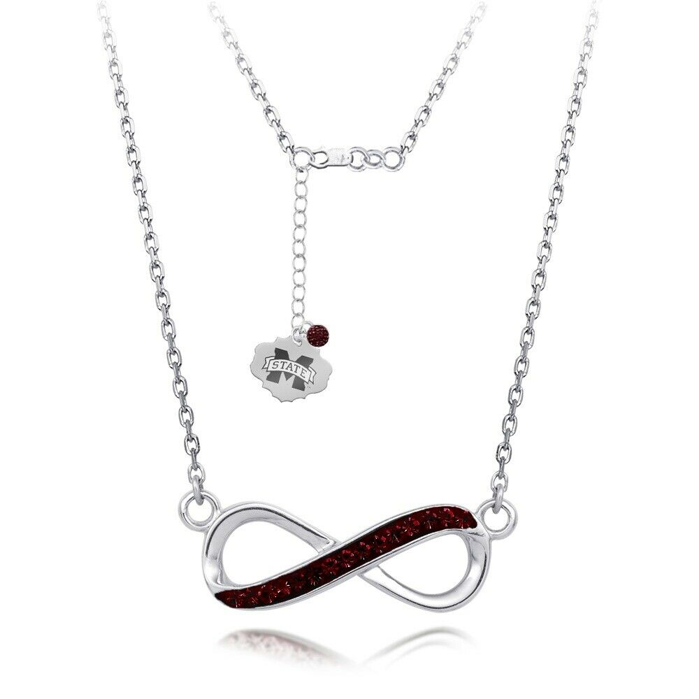 Mississippi State University Infinity Crystal Necklace - Silver Licensed MSU