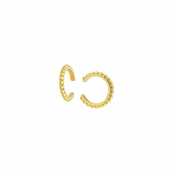 14K Solid Gold Bead Design Ear Cuff Earrings - Minimalist Yellow / White Gold