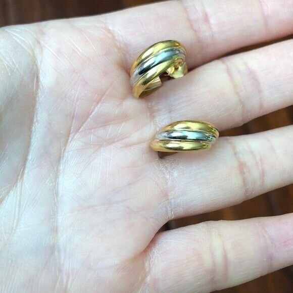 14K Solid Gold Tri-color Stud Earrings
