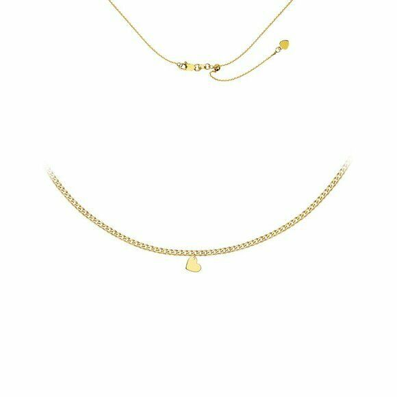14K Solid Yellow Gold Slanted Heart Choker Necklace Flat Cuban Chain Adjust 17""