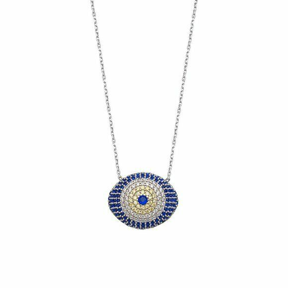 "925 Sterling Silver Blue CZ Puffed Evil Eye Adjustable Necklace 16""-18"""