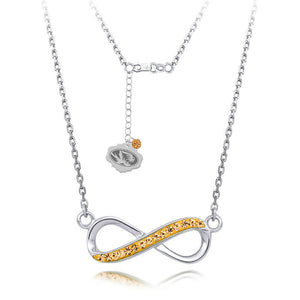 MU University of Missouri Infinity Crystal Necklace - Sterling Silver Licensed