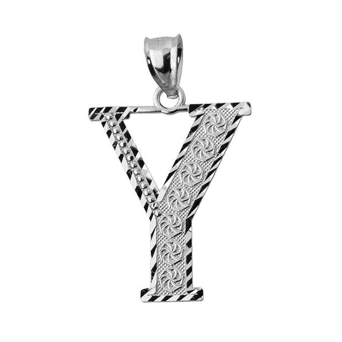 925 Sterling Silver Initial Letter Y Pendant Necklace - Large, Medium, Small D/C