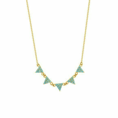 "14K Solid Yellow Gold 5 Triangles Nano Turquoise Adjustable Necklace 16""-18"""