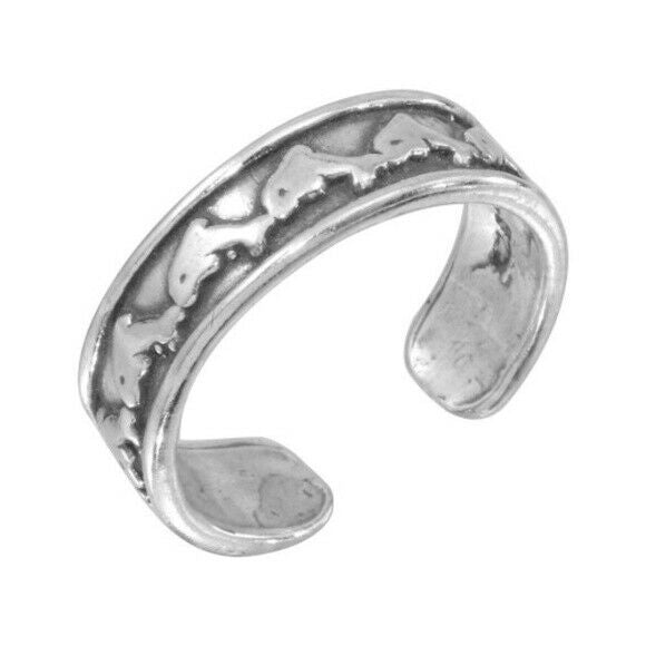 925 Sterling Silver Dolphin Link Oxidized Adjustable Toe Ring / Finger Ring