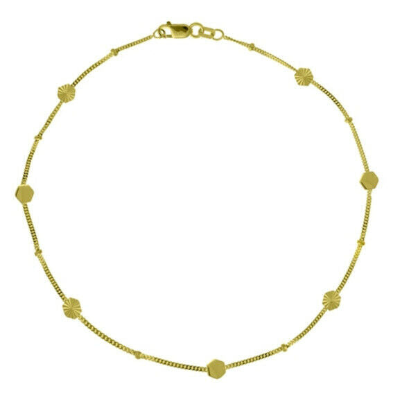 "14K Solid Gold Hexagon Station Anklet - Yellow 9""-10"" adjustable Cable Chain DC"