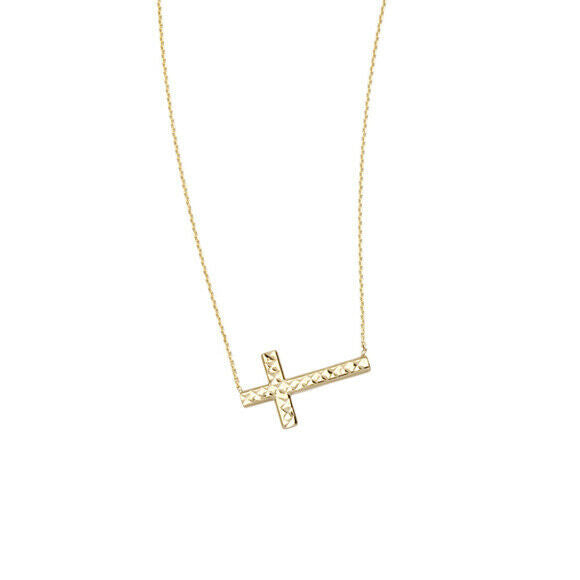 14K Solid Gold Sideways Cross Reversible Adjust Necklace - Yellow, White, Rose