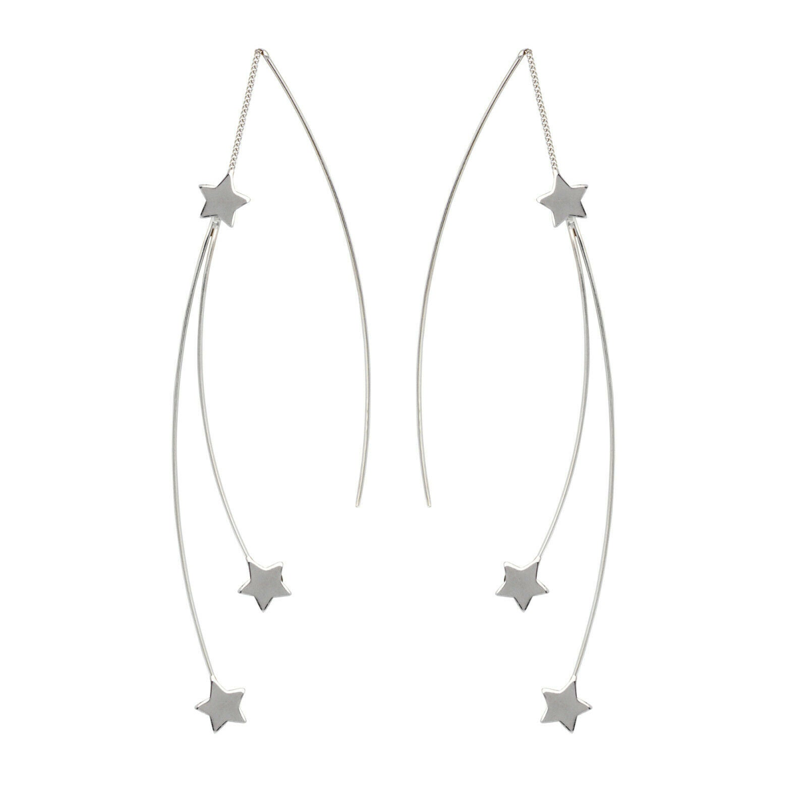 925 Sterling Silver Fancy Double Star Threader Fashion Earrings