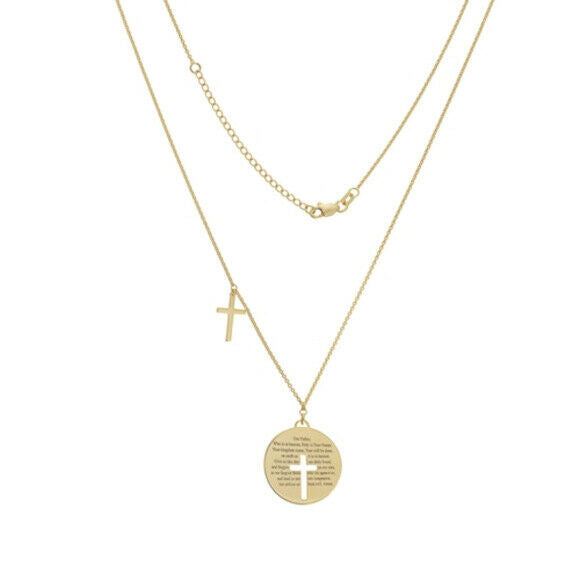 14K Solid Gold Lords Prayer Cross Disk/Disc Double Adjust Necklace Medallion 22
