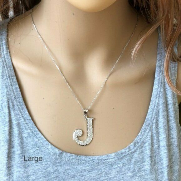 925 Sterling Silver Initial Letter R Pendant Necklace - Large, Medium, Small D/C