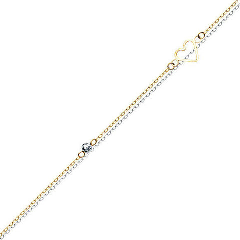 "14K Solid Gold Double Strand Open Heart 2 Tone Anklet - Yellow 9""-10"" adjustable"